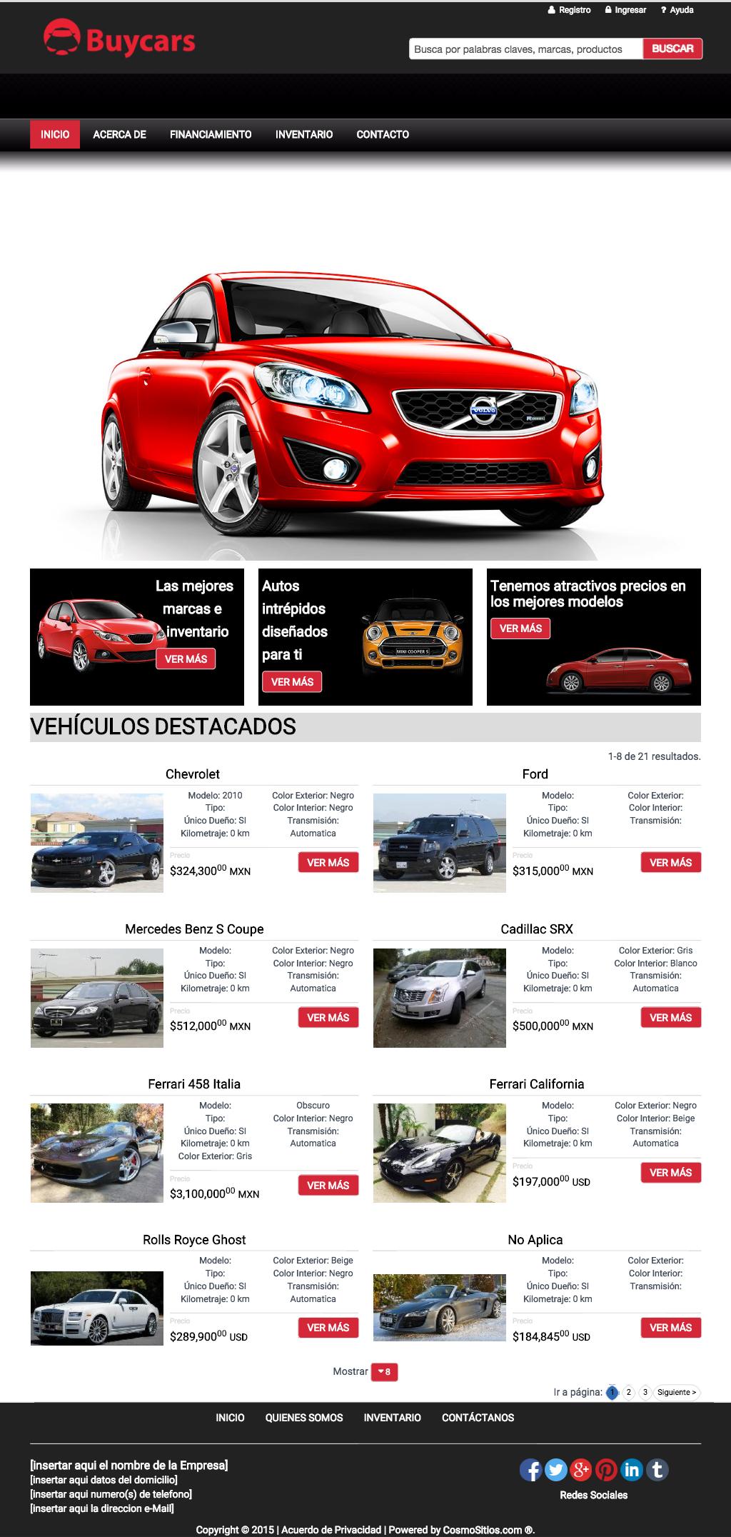 Plantillas de Agencias de Autos - CosmoSitios